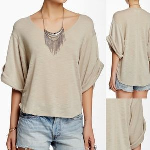 Free People Top Beach Nani Rolled Sleeve Size S